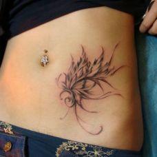 腹部文艺花语系列纹身图案
