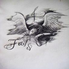 唯美的天使纹身手稿素材