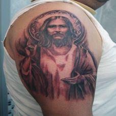 异国信仰耶稣头像纹身图案