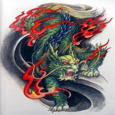 大气经典的火麒麟纹身图案素材