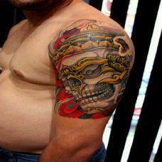 肩部佛门骷髅刺青纹身