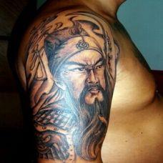 神话三国关公肩部纹身刺青图案