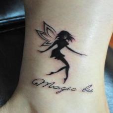 腿部唯美精灵纹身