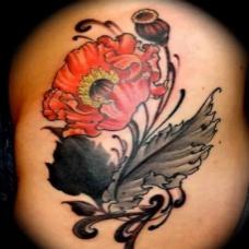 满背彩绘罂粟花纹身图案