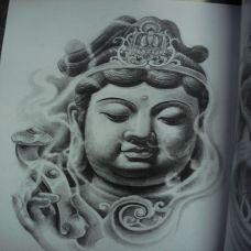 观音菩萨头像纹身手稿