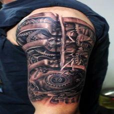 狂野逆战肩部机械纹身图案
