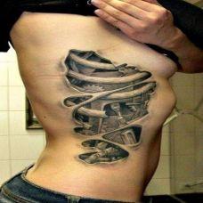 创意裂纹腰部纹身