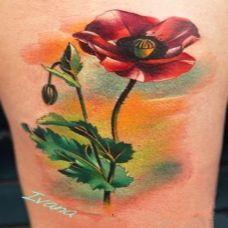 脚部潮流罂粟花彩绘纹身图案欣赏