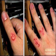 手指上个性小巧割肉纹身图案