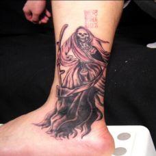 脚踝死神纹身图案大全