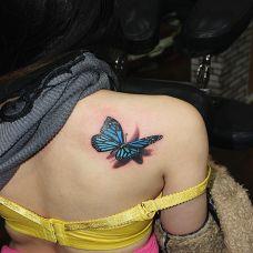 美女肩部3D蝴蝶彩色纹身图案