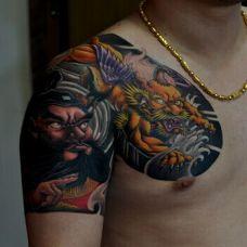 肩部半甲钟馗貔貅纹身图案