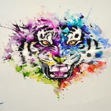 彩色动物纹身手稿
