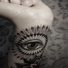 手腕上个性黑色眼睛纹身图片