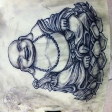 肚子弥勒佛纹身手稿经典图案
