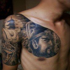 守护神关公肩部纹身图案大全