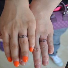 情侣时尚手指英文纹身