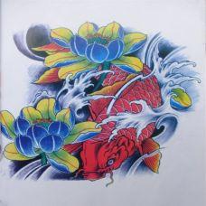 经典唯美的鲤鱼纹身手稿欣赏