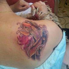 肩部超唯美彩色鲤鱼纹身图案