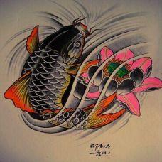 日本纹身鲤鱼刺青素材图案