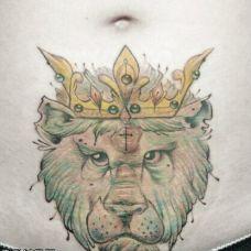 霸气狮子腹部纹身