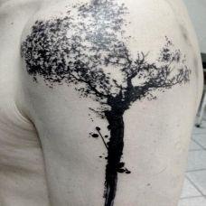艺术大树黑白纹身