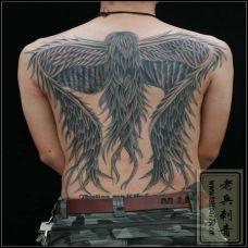 男子满背黑色翅膀纹身图案欣赏