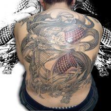 道与义关公满背纹身图案