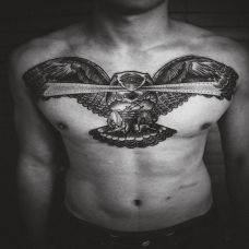 男人胸口霸气三角眼老鹰黑白纹身