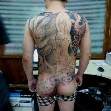 凤凰与观音满背纹身图案欣赏