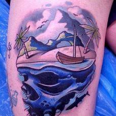 海贼王骷髅腿部纹身