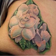 纹身女孩腰部唯美花朵纹身