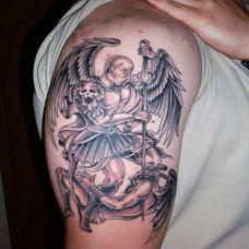 欧美天使肩部纹身图案