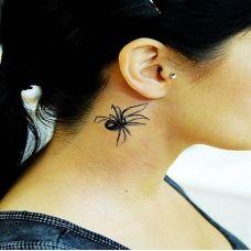 酷黑立体蜘蛛纹身图案