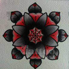黑色潮流花蕊纹身手稿图案