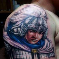 男性手臂超大气赵子龙彩绘纹身图案