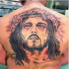 基督教信仰耶稣头像背部纹身