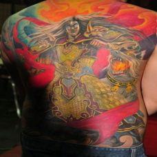 男生背部个性邪二郎神纹身彩绘图案