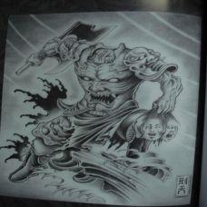 恐怖的神兽纹身素材
