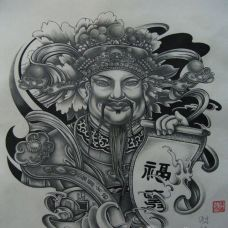 中国传统独特的财神纹身手稿素材