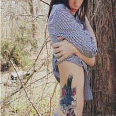 侧腰性感艺术纹身