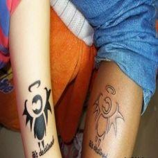 可爱恶魔情侣纹身图案