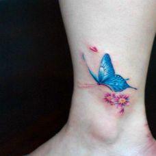 脚裸唯美蝴蝶彩绘纹身图案