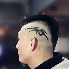 非主流男生无发区头部纹身经典图案欣赏