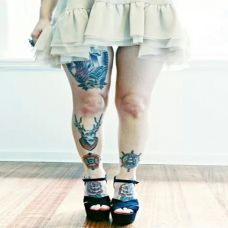 女性性感大腿纹身图案