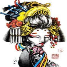 抽象派艺术女妓纹身刺青稿
