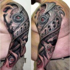 霸气十足的机械花臂纹身图案