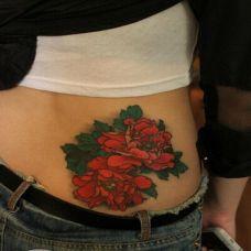 精美好看玫瑰腰部纹身