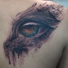 肩部经典3D眼球形状纹身图案