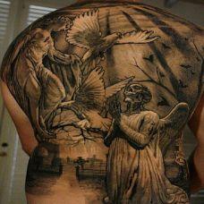 满背唯美风格黑色人物纹身图案